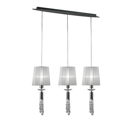 Подвесной светильник Mantra Tiffany 3855, хром, белый, прозрачный, металл, текстиль, хрусталь