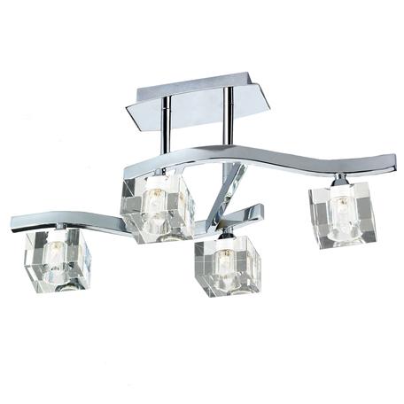 Потолочная люстра Mantra Cuadrax 0967, хром, прозрачный, металл, стекло