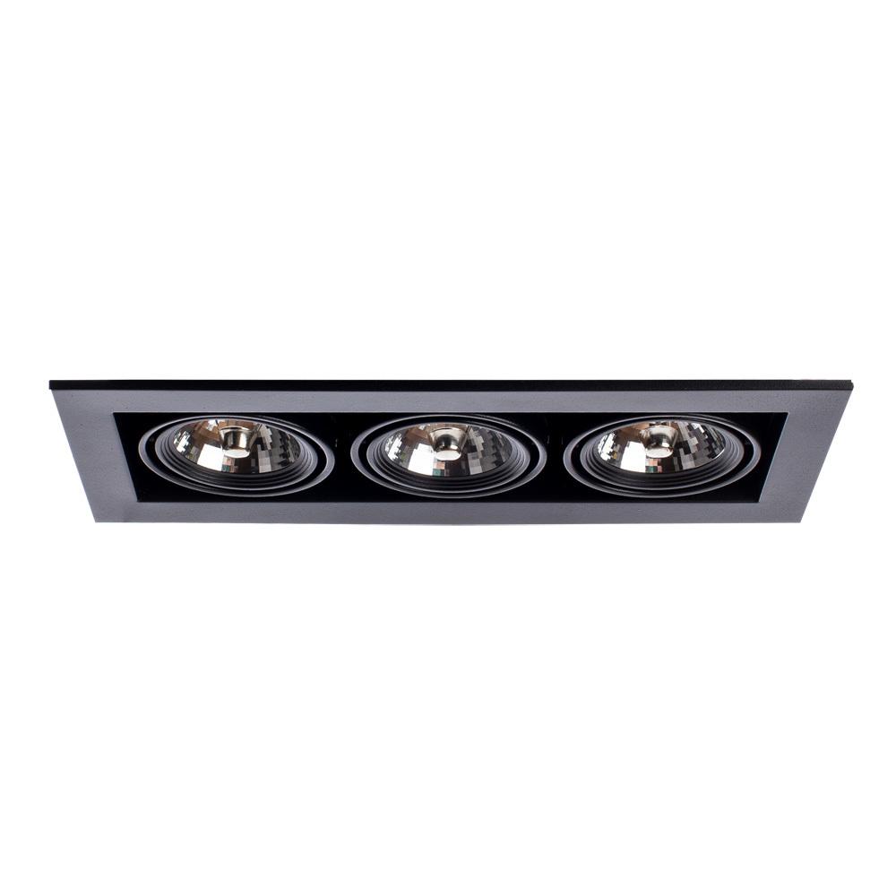 Встраиваемый светильник Arte Lamp Instyle Cardani Medio A5930PL-3BK, 3xG53AR111x50W, черный, металл - фото 1