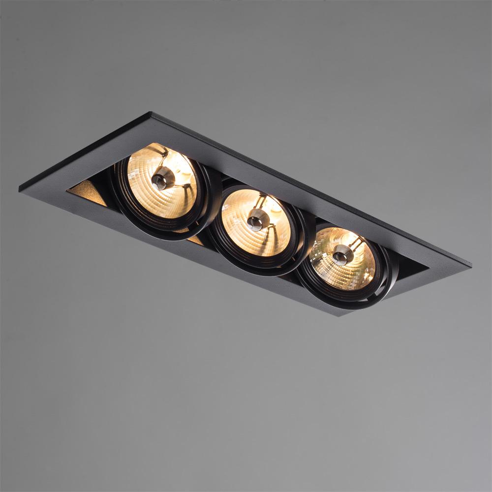 Встраиваемый светильник Arte Lamp Instyle Cardani Medio A5930PL-3BK, 3xG53AR111x50W, черный, металл - фото 2