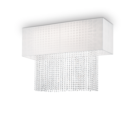 Потолочная люстра Ideal Lux PHOENIX PL5 BIANCO 099118 SALE, 5xE27x60W, хром, белый, прозрачный, металл, текстиль, хрусталь