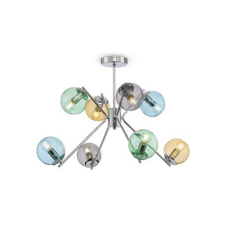 Потолочная люстра Freya Modern Nancy FR5083PL-08CH, 8xE14x40W, хром, разноцветный, металл, стекло