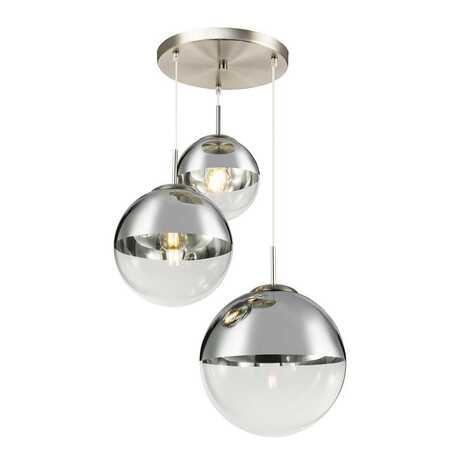 Подвесной светильник Toplight Glass TL1203H-03CH, 3xE27x40W, никель, хром с прозрачным, металл, стекло