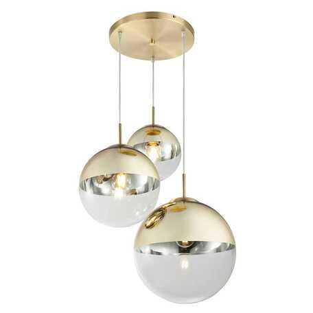 Подвесной светильник Toplight Glass TL1203H-03GD, 3xE27x40W, золото, золото с прозрачным, металл, стекло