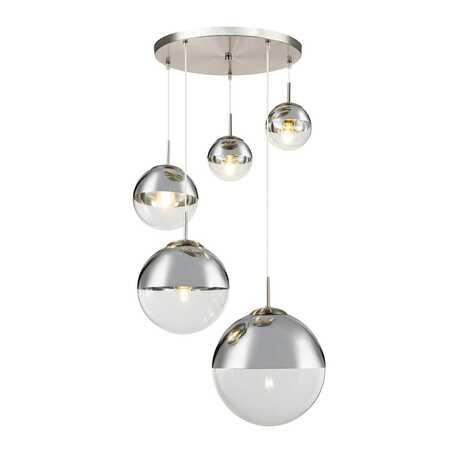 Подвесной светильник Toplight Glass TL1203H-05CH, 5xE27x40W, никель, хром с прозрачным, металл, стекло