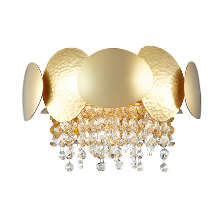 Бра Odeon Light Classic Ulla 4636/2W, 2xG9x40W, золото, матовое золото, прозрачный, металл, хрусталь