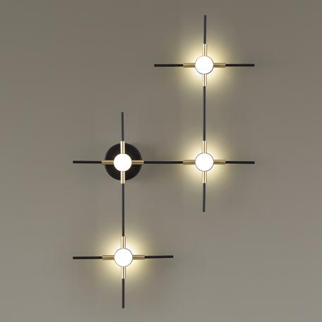 Настенный светодиодный светильник Odeon Light L-Vision Costella 3906/14WL, LED 14W 4000K 1120lm, черный, матовое золото, металл, пластик