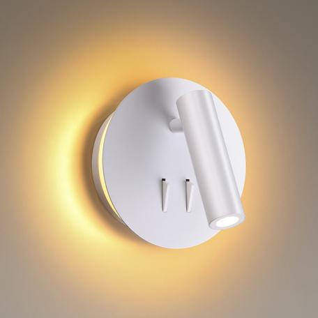 Настенный светодиодный светильник с регулировкой направления света с дополнительной подсветкой Odeon Light Hightech Beam 3912/9WL, LED 9W 3000K 472lm, белый, металл
