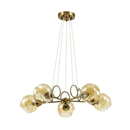 Подвесная люстра Lumion Amber 4435/5, 5xE14x40W, бронза, янтарь, металл, стекло