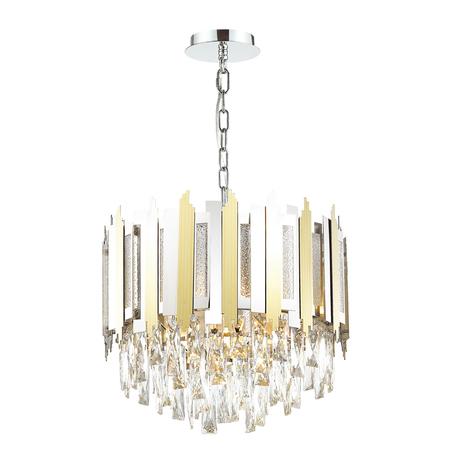 Подвесная люстра Odeon Light Classic Runa 4635/5, 5xE14x40W, хром, золото, прозрачный, металл, металл со стеклом, хрусталь
