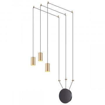 Люстра-паук Odeon Light Lucas 3898/3, 3xGU10x50W, черный, матовое золото, металл