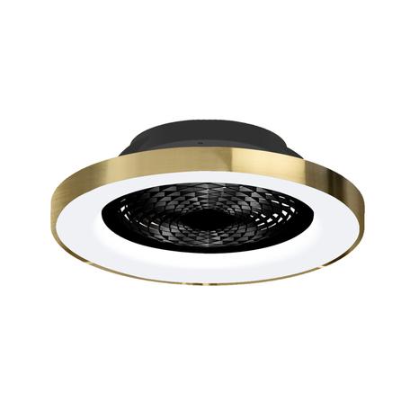 Потолочный светодиодный светильник-вентилятор с пультом ДУ Mantra Tibet 7124, LED 70W 2700-5000K 3900lm CRI80, черный, золото, металл, металл с пластиком