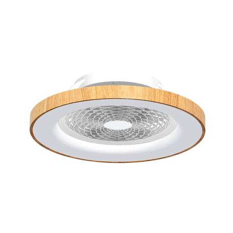 Потолочный светодиодный светильник-вентилятор с пультом ДУ Mantra Tibet 7126, LED 70W 2700-5000K 3900lm CRI80, белый, коричневый, металл, металл с пластиком