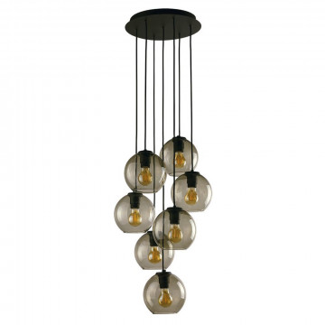 Люстра-каскад Nowodvorski Vetro 9131, 7xE27x60W, черный, дымчатый, металл, стекло