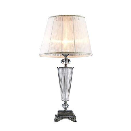Настольная лампа Citilux Медея CL436811, 1xE14x60W, прозрачный, хром, белый, стекло, текстиль