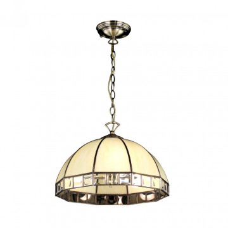 Подвесная люстра Citilux Шербург-1 CL440131, 3xE27x75W, бронза, бежевый, металл, стекло