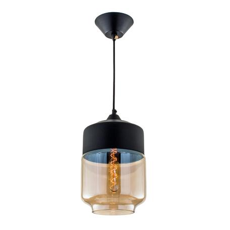 Подвесной светильник Citilux Эдисон CL450207, 1xE27x75W, черный, янтарь, металл, металл со стеклом