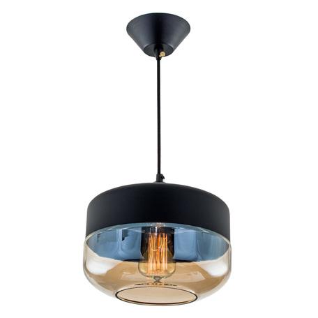 Подвесной светильник Citilux Эдисон CL450208, 1xE27x75W, черный, янтарь, металл, металл со стеклом