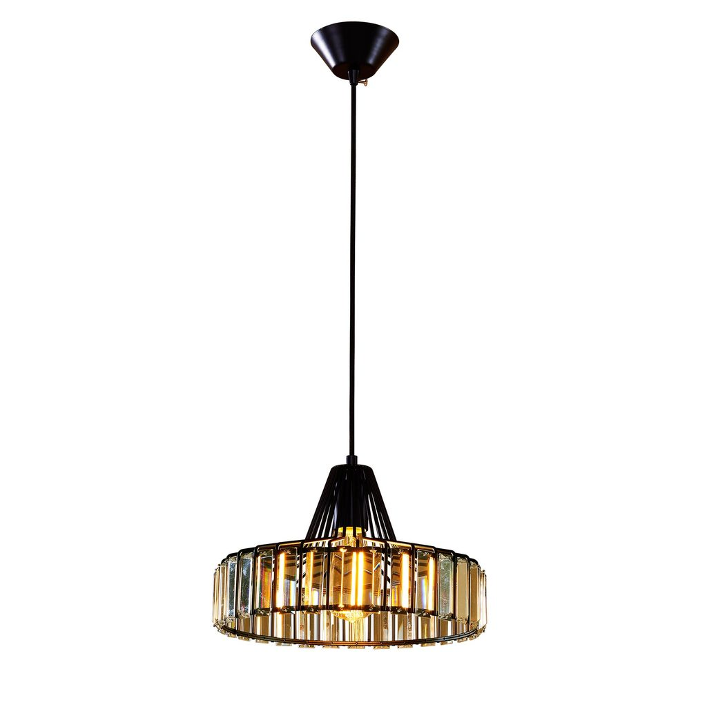 Подвесной светильник Citilux Эдисон CL450212, 1xE27x75W, черный, прозрачный, металл, хрусталь - фото 1
