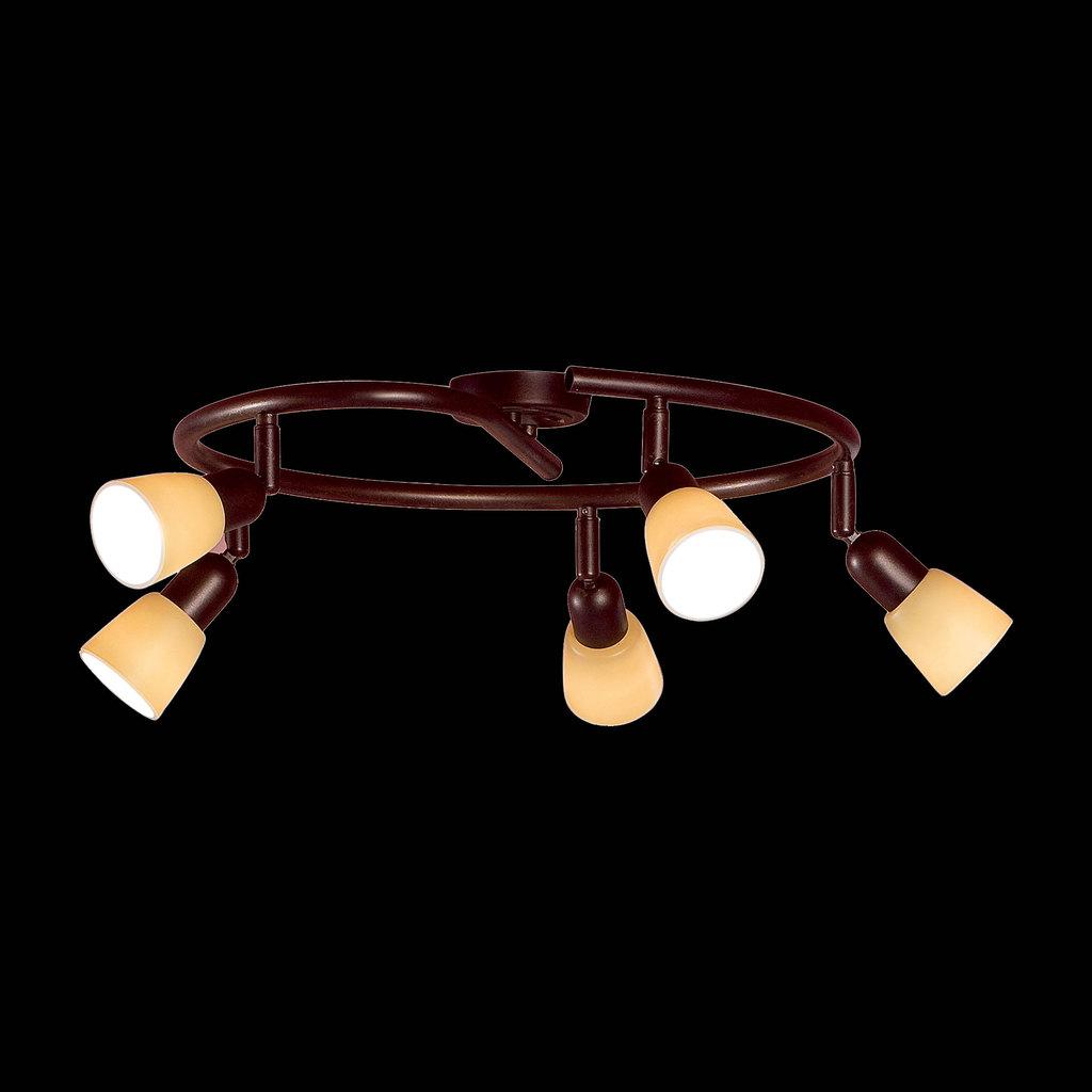 Потолочная люстра с регулировкой направления света Citilux Ронда CL506554, 5xE14x60W, коричневый, бежевый, металл, стекло - фото 2