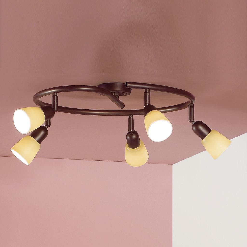 Потолочная люстра с регулировкой направления света Citilux Ронда CL506554, 5xE14x60W, коричневый, бежевый, металл, стекло - фото 3