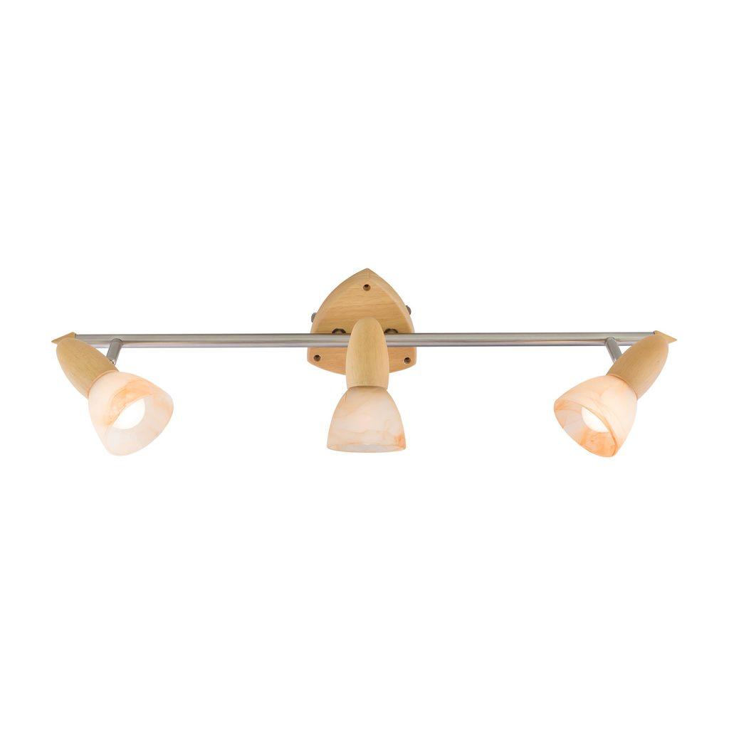 Настенный светильник с регулировкой направления света Citilux Монте CL505531, 3xE14x60W, коричневый, белый, дерево, металл, стекло - фото 1