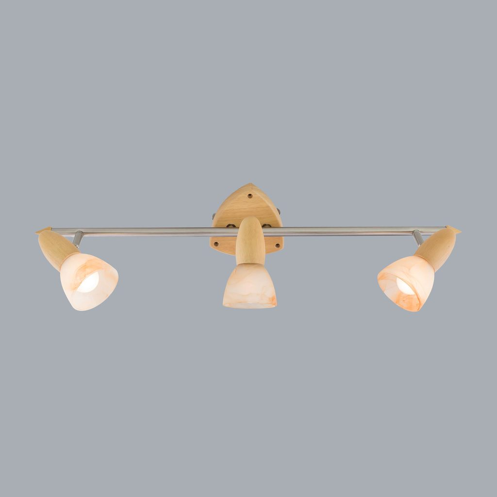 Настенный светильник с регулировкой направления света Citilux Монте CL505531, 3xE14x60W, коричневый, хром, белый, дерево, металл, стекло - фото 3