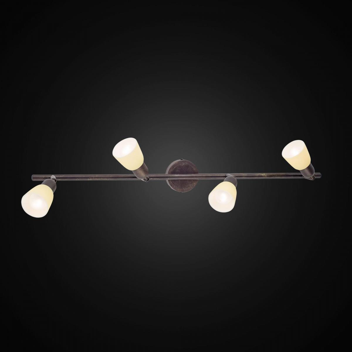 Потолочный светильник с регулировкой направления света Citilux Ронда CL506544, 4xE14x60W, коричневый, бежевый, металл, стекло - фото 2