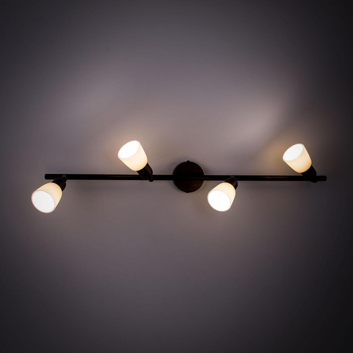 Потолочный светильник с регулировкой направления света Citilux Ронда CL506544, 4xE14x60W, коричневый, бежевый, металл, стекло - фото 4
