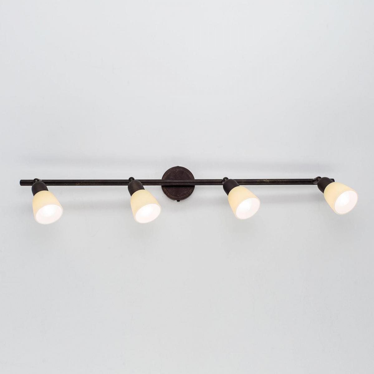 Потолочный светильник с регулировкой направления света Citilux Ронда CL506544, 4xE14x60W, коричневый, бежевый, металл, стекло - фото 7
