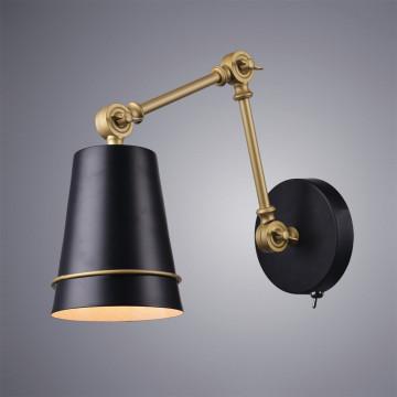 Бра Divinare Reattiva 8035/19 AP-1, 1xE27x40W, матовое золото, черный, металл