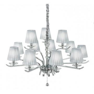 Ideal Lux Pegaso 164205, 12xE14x40W, металл, хрусталь, текстиль