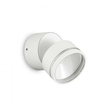 Настенный светодиодный светильник с регулировкой направления света Ideal Lux OMEGA AP ROUND BIANCO 4000K 172538 (OMEGA ROUND AP1 BIANCO), IP54, LED 7,3W 4000K 573lm, белый, металл, пластик