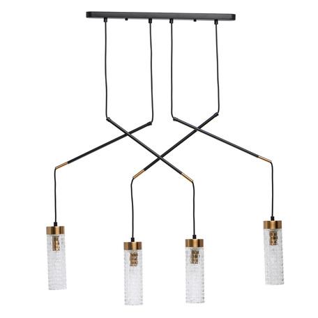 Подвесной светильник De Markt Фьюжн 392018304, 4xE14x40W, черный, прозрачный, металл, стекло