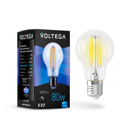 Филаментная светодиодная лампа Voltega Crystal 5490 груша E27 8W, 4000K (дневной) 220V, диммируемая, гарантия 3 года