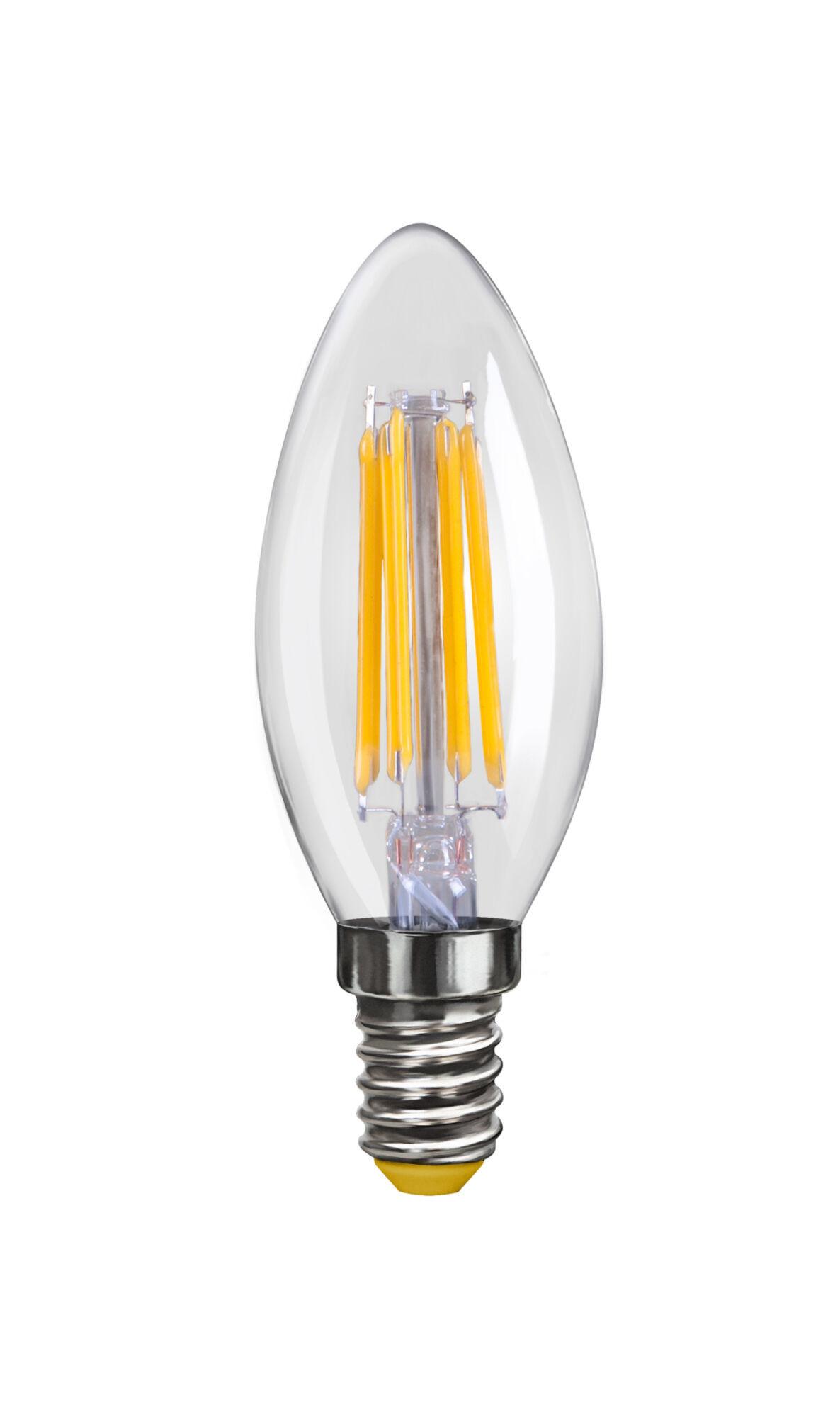 Филаментная светодиодная лампа Voltega VG10-C1E14warm4W-F 6997 свеча E14 4W, 2800K (теплый), гарантия 3 года - фото 1