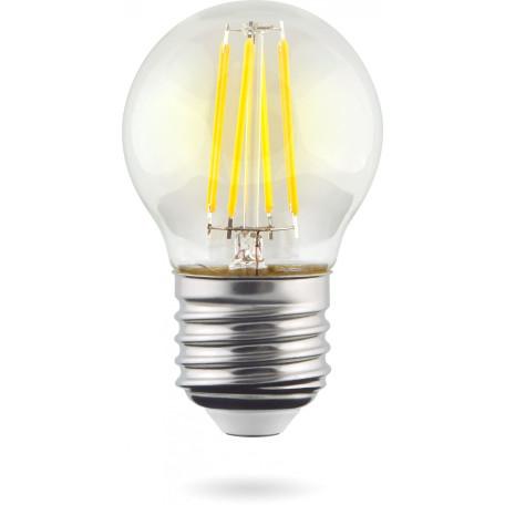 Филаментная светодиодная лампа Voltega Crystal 7010 шар E27 4W, 2800K (теплый) 220V, гарантия 3 года