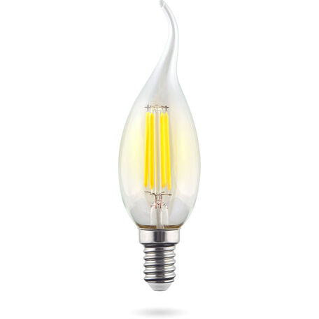 Филаментная светодиодная лампа Voltega Crystal 7018 свеча на ветру E14 6W, 4000K 220V, гарантия 3 года
