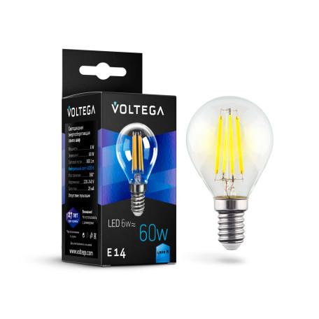 Филаментная светодиодная лампа Voltega Crystal 7022 шар малый E14 6W, 4000K 220V, гарантия 3 года