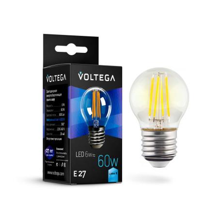 Филаментная светодиодная лампа Voltega Crystal 7024 шар E27 6W, 4000K (дневной) 220V, гарантия 3 года
