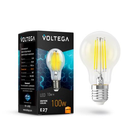 Филаментная светодиодная лампа Voltega Crystal 7102 груша E27 10W, 2800K (теплый) 220V, гарантия 3 года