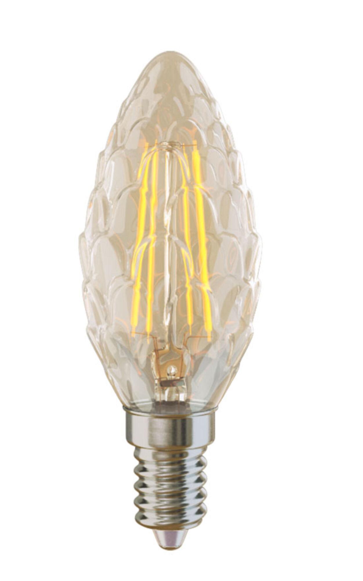 Филаментная светодиодная лампа Voltega Crystal 5487 свеча-шишка E14 4W, 4000K (дневной) 220V, гарантия 3 года - фото 1