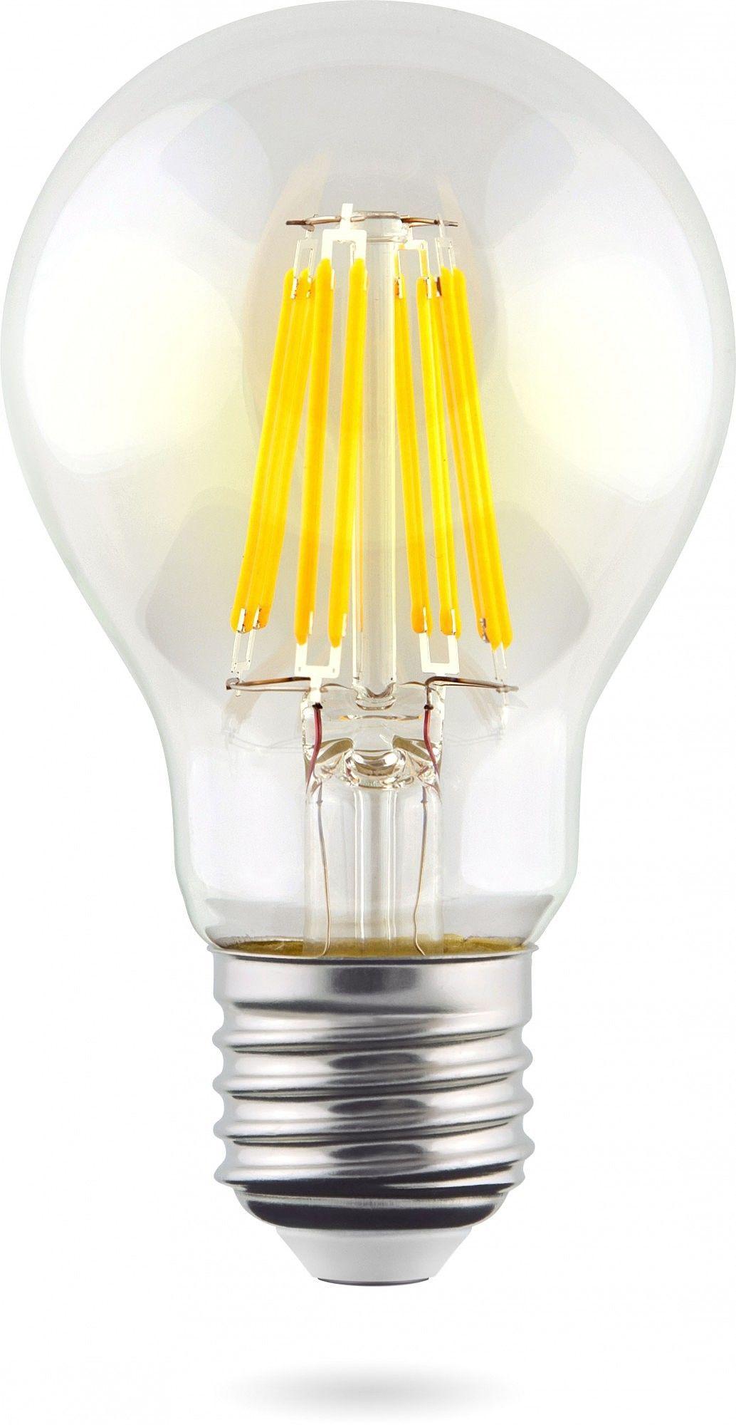 Филаментная светодиодная лампа Voltega Crystal 5489 груша E27 8W, 2800K (теплый) 220V, диммируемая, гарантия 3 года - фото 1