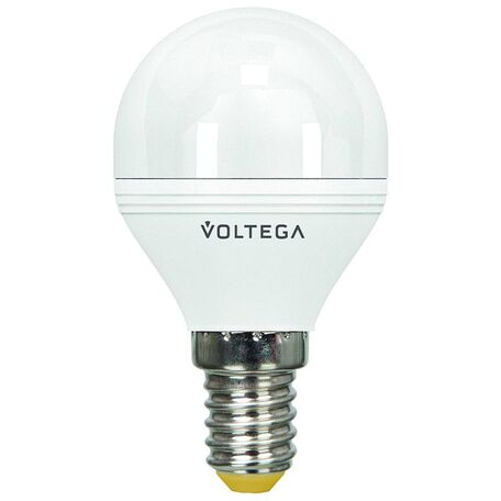 Светодиодная лампа Voltega Simple 5494 шар малый E14 6W, 4000K CRI80 220V, диммируемая, гарантия 2 года