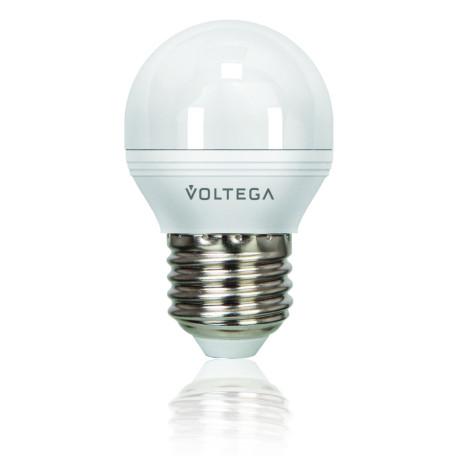 Светодиодная лампа Voltega Simple 5495 шар малый E27 6W, 2800K (теплый) 220V, диммируемая, гарантия 2 года