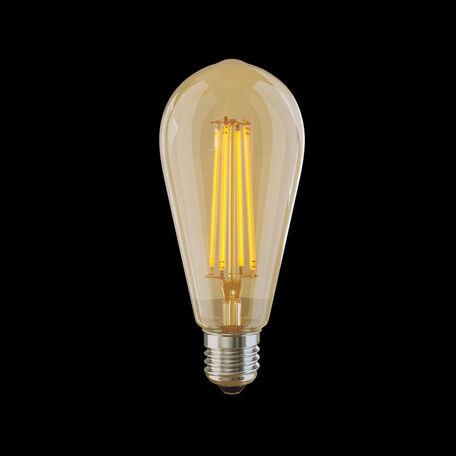 Филаментная светодиодная лампа Voltega Loft LED 5526 прямосторонняя груша E27 6W, 2800K (теплый) 220V, гарантия 3 года