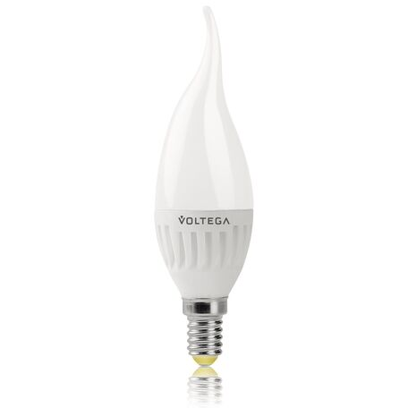 Светодиодная лампа Voltega Ceramics 5719 свеча на ветру E14 6,5W, 2800K (теплый) 220V, гарантия 3 года