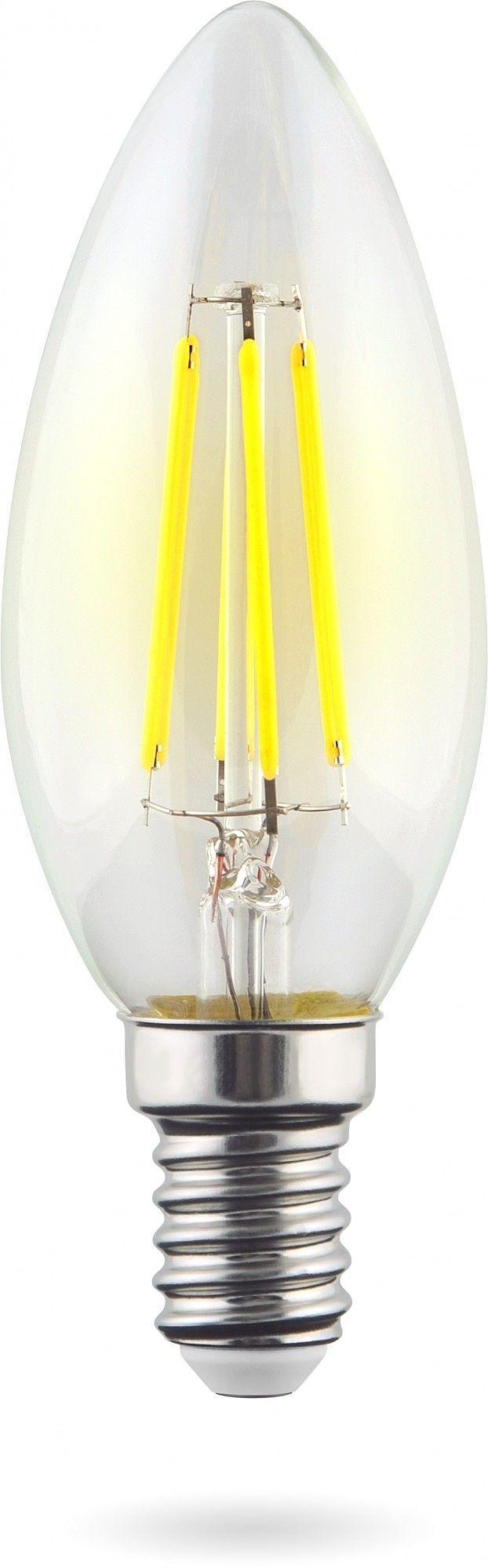 Филаментная светодиодная лампа Voltega Crystal 7019 свеча E14 6W, 2800K (теплый) 220V, гарантия 3 года - фото 1