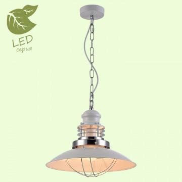Подвесной светильник Lussole Loft Ketchikan GRLSP-8030, IP21, 1xE27x10W, белый, хром, металл