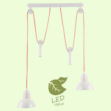 Подвесной светильник Lussole Loft Tanaina GRLSP-8129, IP21, 2xE27x10W, белый, красный, металл, стекло
